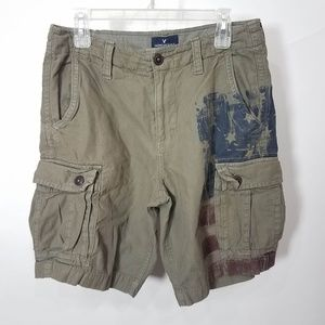 American Eagle Classic Military Flag Cargo Shorts